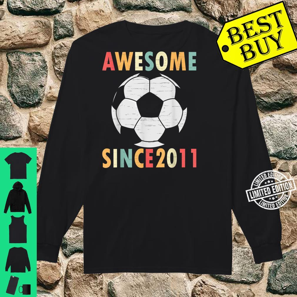 10th Birthday Soccer 10 Years Old Vintage Retro Shirt long sleeved