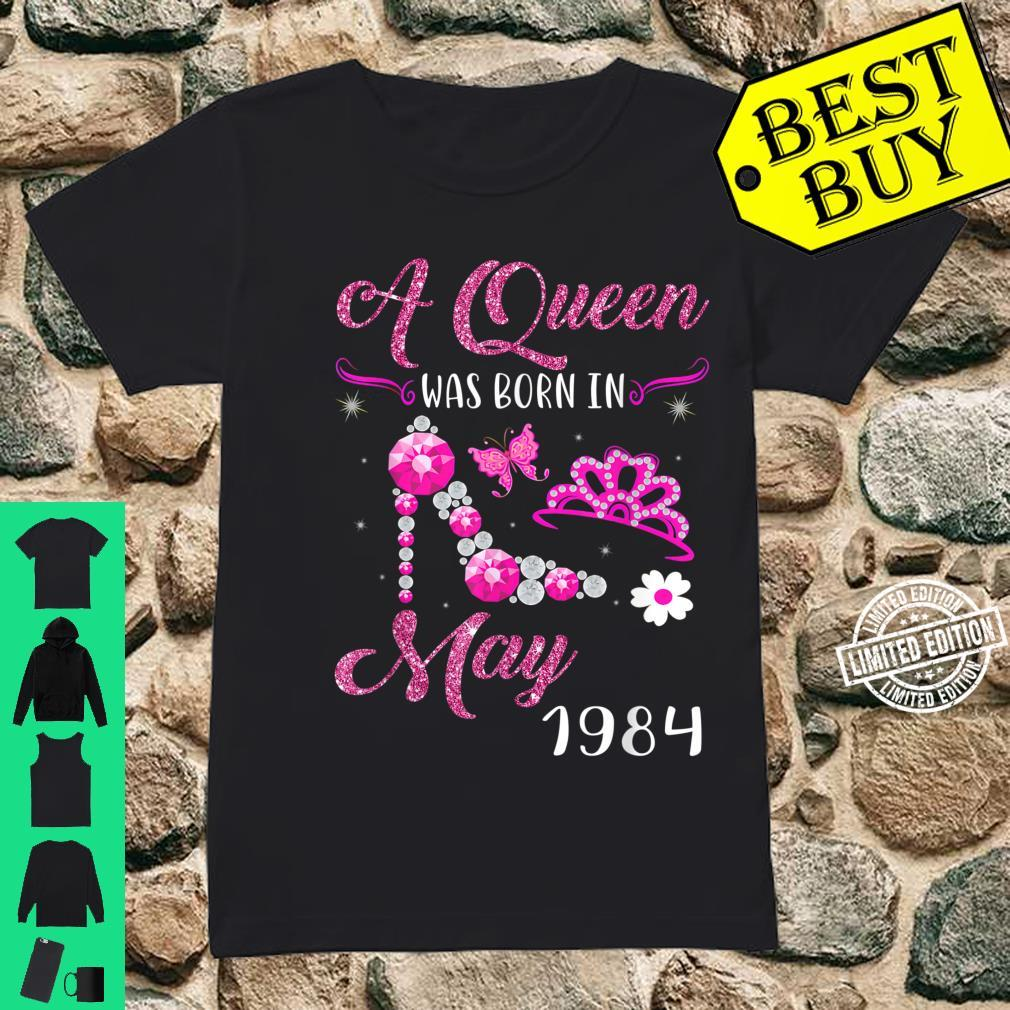 A Queen Was Born in May 1984 37th Birthday Shirt ladies tee