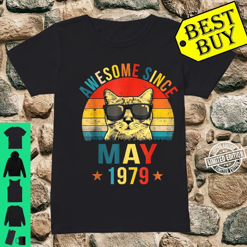 Awesome Since May 1979 42nd Birthday Cat Shirt ladies tee
