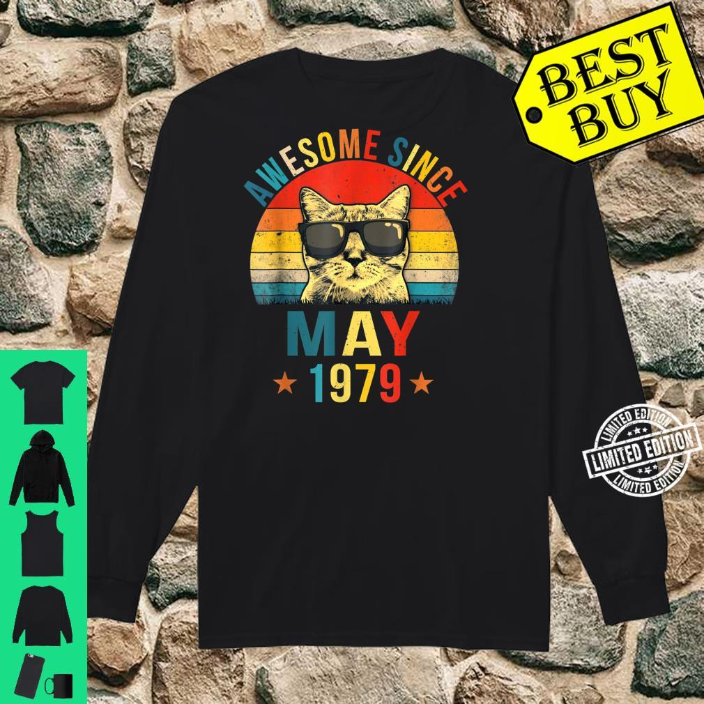 Awesome Since May 1979 42nd Birthday Cat Shirt long sleeved