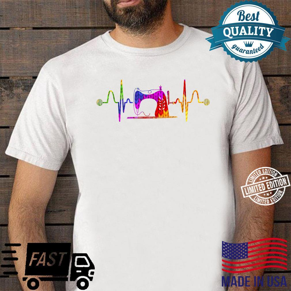 Colorful Sewing Machine Sew Quilter Sewer Heartbeat Sewing Shirt